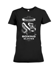 Never Underestimate A Woman With Boxing Gloves Premium Fit Ladies Tee thumbnail