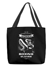 Never Underestimate A Woman With Boxing Gloves All-over Tote thumbnail