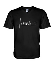Sewing Heartbeat T-Shirts - Sewing T-Shirts V-Neck T-Shirt thumbnail