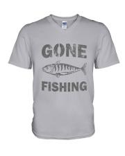 Gone Fishing Design V-Neck T-Shirt thumbnail