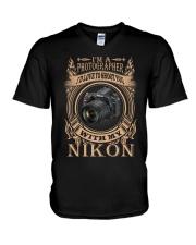 I AM PHOTOGRAPHER - NIKON D750 V-Neck T-Shirt thumbnail