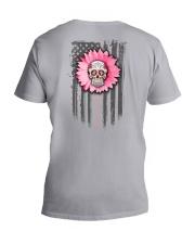Breast Cancer Sugar Skull V-Neck T-Shirt tile