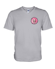 Breast Cancer Sugar Skull V-Neck T-Shirt thumbnail