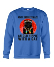 Cat And Hippie - Never Underestimate An Old Hippie Crewneck Sweatshirt thumbnail