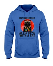 Cat And Hippie - Never Underestimate An Old Hippie Hooded Sweatshirt thumbnail