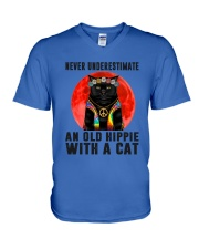 Cat And Hippie - Never Underestimate An Old Hippie V-Neck T-Shirt thumbnail