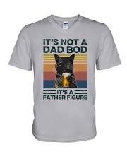 Black Cat Dad Bod V-Neck T-Shirt tile