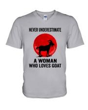 Goat Never Underestimate V-Neck T-Shirt tile