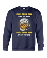 Skull Drinks Beer Crewneck Sweatshirt thumbnail