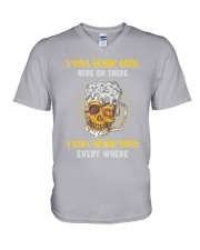 Skull Drinks Beer V-Neck T-Shirt thumbnail