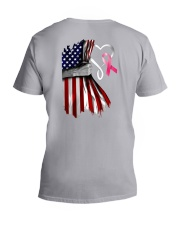 Breast Cancer Heartbeat V-Neck T-Shirt tile