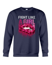 Breast Cancer Lip Fight Like A Girl Crewneck Sweatshirt tile