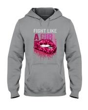 Breast Cancer Lip Fight Like A Girl Hooded Sweatshirt tile