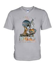 Skull IDGAF If You Like Me V-Neck T-Shirt tile