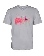 Breast Cancer Pink V-Neck T-Shirt thumbnail