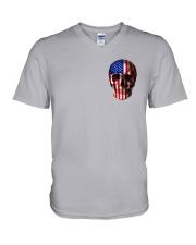 SKull Camo Flag 2 Sides V-Neck T-Shirt thumbnail