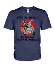 Sk Motorcycle Never Underestimate V-Neck T-Shirt tile