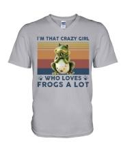 Frogs Im That Crazy Girl V-Neck T-Shirt tile