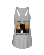 Coffee Cat - I Like Coffee And Maybe 3 People Ladies Flowy Tank tile