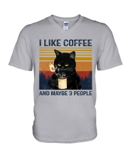 Coffee Cat - I Like Coffee And Maybe 3 People V-Neck T-Shirt tile