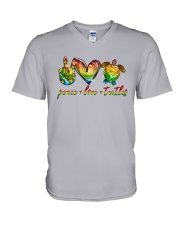 Peace Love Turtle V-Neck T-Shirt tile