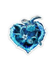 Turtle Blue Heart St Sticker - Single (Vertical) front