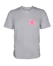 Breast Cancer Daisy 2 Sides V-Neck T-Shirt tile
