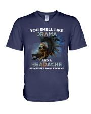 Skull - You Smell Like Drama V-Neck T-Shirt thumbnail