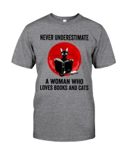 Cat Book Never Underestimate Classic T-Shirt thumbnail