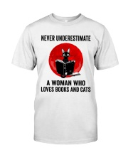 Cat Book Never Underestimate Classic T-Shirt tile