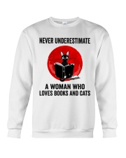Cat Book Never Underestimate Crewneck Sweatshirt thumbnail