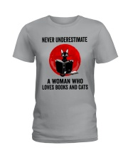 Cat Book Never Underestimate Ladies T-Shirt tile