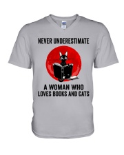 Cat Book Never Underestimate V-Neck T-Shirt thumbnail