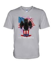Cat - God Bless America V-Neck T-Shirt tile