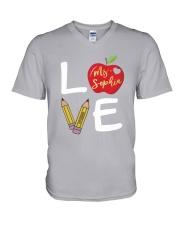 Customized Teacher Love V-Neck T-Shirt thumbnail
