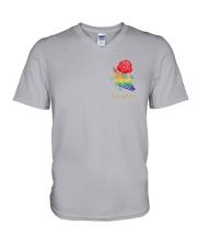 Skelton Love Is Love 2 Sides V-Neck T-Shirt tile