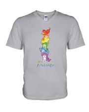 LGBT Cat Happy Purride V-Neck T-Shirt tile