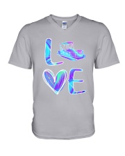 Pontoon Boat Love Purple Texture V-Neck T-Shirt thumbnail