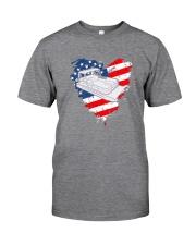 Pontoon Boat US Flag Heart Classic T-Shirt tile