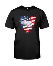 Pontoon Boat US Flag Heart Classic T-Shirt front
