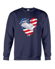 Pontoon Boat US Flag Heart Crewneck Sweatshirt thumbnail