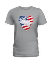 Pontoon Boat US Flag Heart Ladies T-Shirt thumbnail