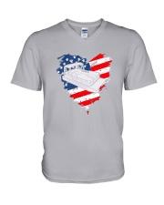 Pontoon Boat US Flag Heart V-Neck T-Shirt thumbnail