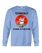 Cat - Alcohol Is A Solution Crewneck Sweatshirt thumbnail