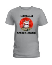 Cat - Alcohol Is A Solution Ladies T-Shirt thumbnail