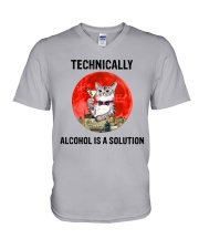 Cat - Alcohol Is A Solution V-Neck T-Shirt thumbnail