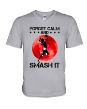 Volleyball- Forget Calm And Smash It V-Neck T-Shirt thumbnail
