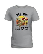 Turtle - Resting Beach Face Ladies T-Shirt tile