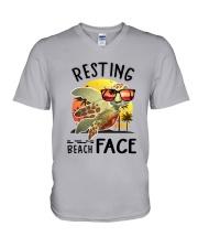Turtle - Resting Beach Face V-Neck T-Shirt tile