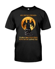 Black Cat Give Me Strength Classic T-Shirt front